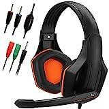 DLAND Gaming Headset, 3.5mm verdrahteten Bass Stereo Noise Isolation Gaming-Kopfhörer mit Mikrofon für Laptop-Computer, Handy, PS4 und so on- Volume Control (schwarz und orange)