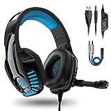PS4 Headset, PC Gaming Kopfhörer auch für Xbox One & Nintendo Switch & Laptop, 3.5mm Noise Cancelling Gaming Kopfhörer mit Mikrofon, Bass Surround, mit Rauschunterdrückungsmikrofon, LED Licht (Blau)
