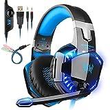 Tsing Professionelle Gaming-Kopfhörer mit Geräuschunterdrückung, Mikrofon, Stereo-Buchse, LED-Licht, umlaufendem Bass und weichen Memory-Ohrenschützern für PS4 3.5mm G2000 Blau