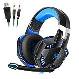 G2000 Gaming Headset, Tsing Professionelle Gaming Kopfhörer mit Mikrofon, 3.5mm On Ear Surround Sound Ohrhörer mit Bass-Stereo Lautstärkeregelung für PC Laptop Tablet Mobile Phones Schwarz/blau