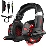 DIZA100 Headset PC, K2 Gaming Kopfhörer für PS4 PC Xbox One,LED Light,Mikrofon,Bass Surround (Rot)