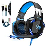 Gaming Headset für PS4 PC Xbox One, Gaming Kopfhörer mit Mikrofon Deep Bass Stereo Sound Noise Isolation Over-Ear Headset für PC Laptop Mac Smartphone,LED Licht