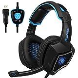 PC Gaming Kopfhörer,Spirit Wolf 7.1 Surround Sound Stereo Stirnband Kopfhörer mit Mikrophon, Professionelle PC USB Gaming Headsets für Gamers(schwarz/blau)