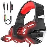 VersionTECH. PS4 Gaming Headset mit faltbarem Mikrofon, Surround-Sound, LED-Licht, Lautstärkeregler, Geräuschunterdrückung, gepolstertes Kopfband für PS4/PC/Xbox One/PSP/mobile/Tablet
