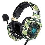 PS4 Gaming Headset für PC, Xbox One, LED-Licht Gaming Kopfhörer mit Mikrofon für Computer Laptop Nintendo Switch Spiele (Camouflage)