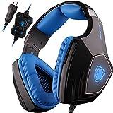 PC Gaming Kopfhörer,Spirit Wolf 7.1 Surround Sound Stereo Stirnband Kopfhörer mit Mikrophon, Professionelle PC USB Gaming Headsets für Gamers (wei / blau)