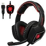 USB Gaming Headset, SADES Spirit Wolf 7.1 Surround Sound Kopfhörer mit Mikrofon, Over-the-Ear Geräuschisolierung PC Headset für PC-Spieler (schwarz rot)