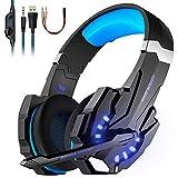 OCDAY G9000 PS4 Gaming Headset Kopfhörer mit Mikrofon 3.5mm On Ear Surround Sound Ohrhörer und Lautstärkeregelung für PS4 Xbox One PC Laptop Tablet Mobile Phones Blau
