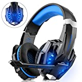 DIZA100 Gaming Headset for PS4 Xbox One PC, Gaming Headphone with Microphone, LED Light Bass Surround, Aluminium Case for Computer Laptop, Mac Nintendo Switch Games
