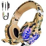 VersionTECH. Stereo-Kopfhörer mit professionellem Mikrofon, Over-Ear verstärkter Schlange mit LED-Licht, Geräuschunterdrückung für PS4 / PC / neue Xbox One (Camouflage)