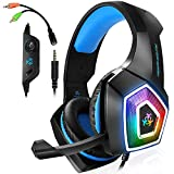 Gaming Headset für PS4 Xbox One PC, Gaming Kopfhörer am Ohr mit Mikrofon für Laptop Mac Tablet blau 6 x 3 x 5 inches