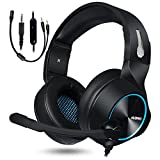 NUBWO Gaming Headsets für PS4 Xbox One PC, HD Surround Stereo Over Ear Noise Cancelling Gaming Kopfhörer mit Flexiblem Mikrofon, Leicht Gaming Headphone für Switch, Laptop, Tablet, Smartphone (Blau)